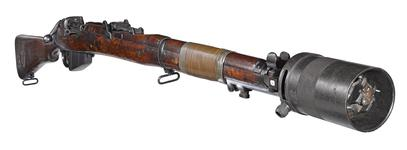 Thumbnail image of Short Magazine Lee Enfield (SMLE) Mk.III* EY centrefire bolt action rifle, British, about 1918 (PR.5750), with grenade discharger (PR.10097).