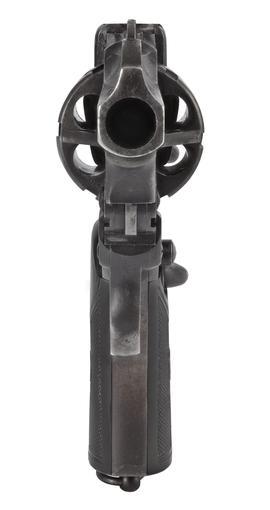 Centrefire six-shot self-cocking revolver