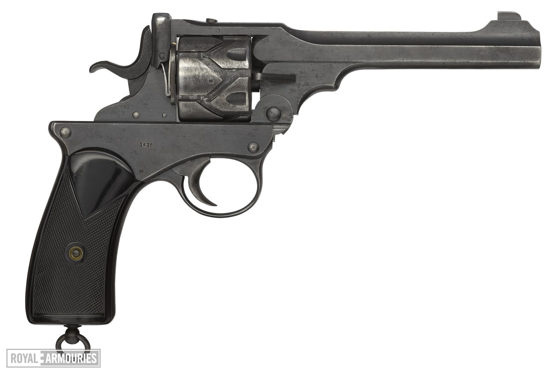 Webley Fosbery Model 1902 centrefire six shot automatic revolver, British, made July 1904. Engraved on the back strap with Viscount Fielding, Coldstream Guards.