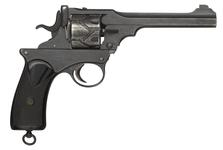 Thumbnail image of Webley Fosbery Model 1902 centrefire six shot automatic revolver, British, made July 1904. Engraved on the back strap with Viscount Fielding, Coldstream Guards.
