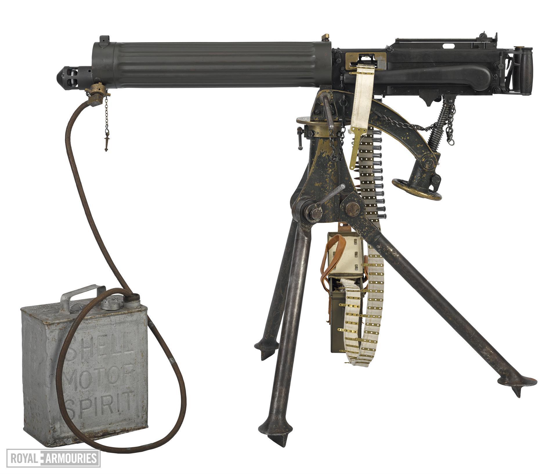 Vickers Mk.I centrefire belt fed machine gun, British, early 20th century.
