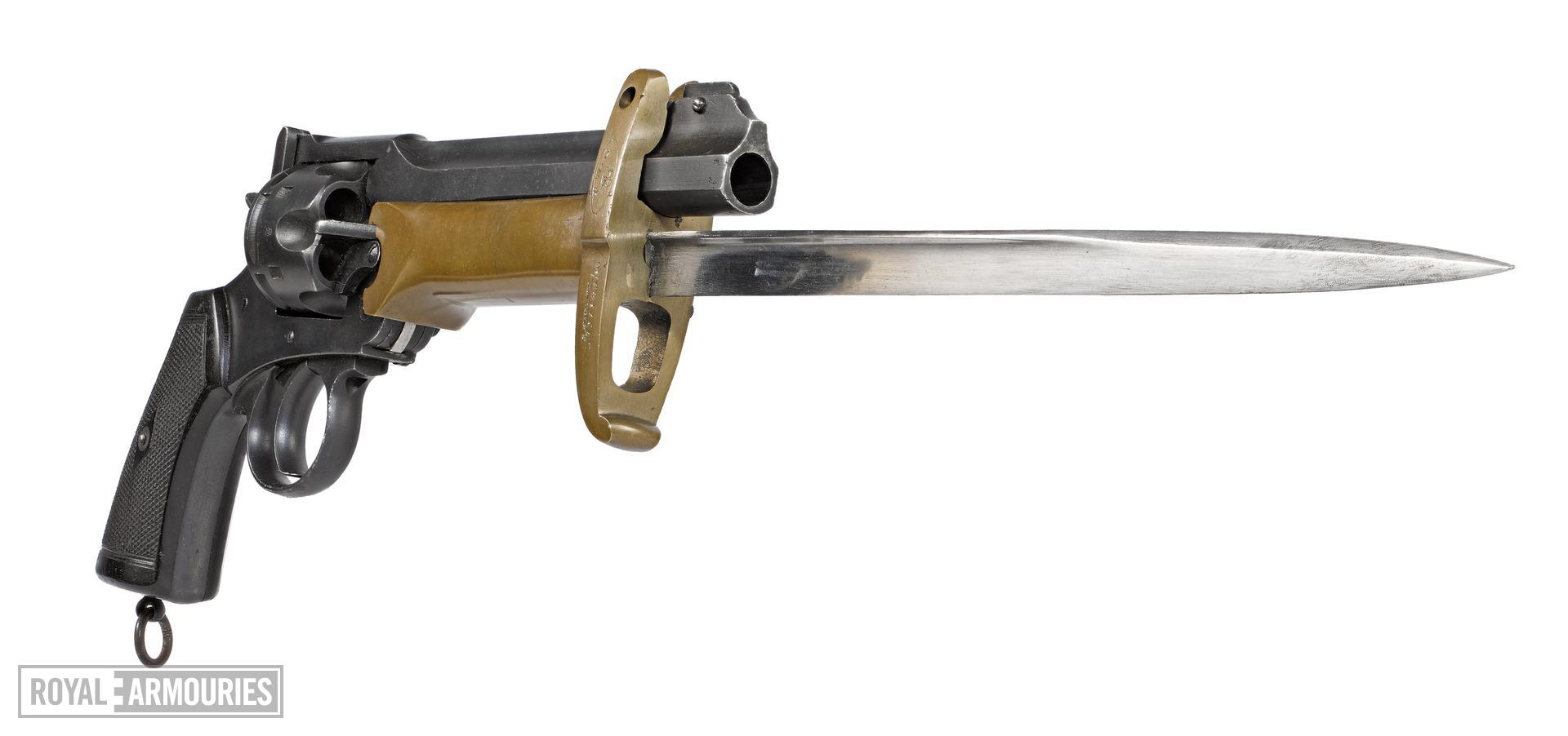Webley Mk VI centrefire six shot revolver,British (PR.3761.) Fitted with a Pritchard-Greener bayonet, British, about 1915-1923 (PR.2577).