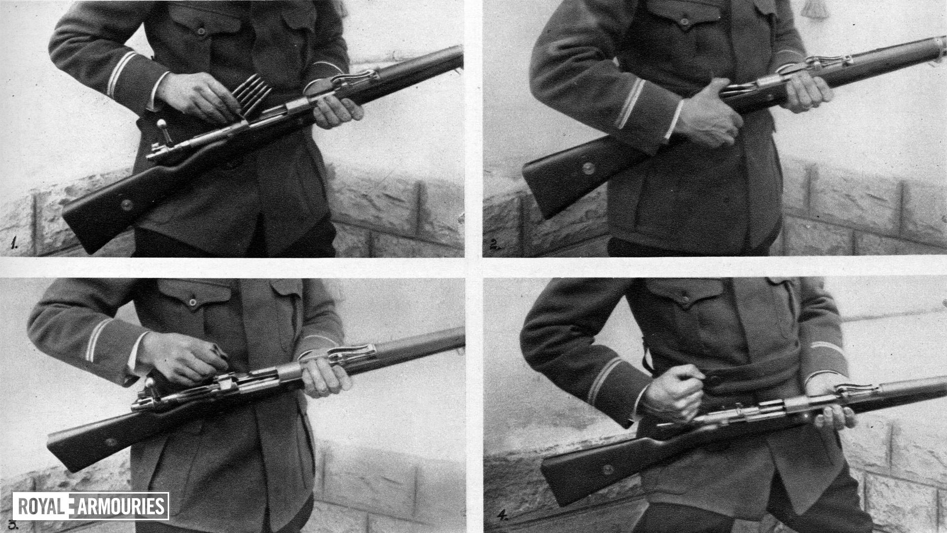 Photograph entitled , 'The arm of Germany's new infantry : The Mauser and its clip of 5 pointed cartridges,' Britain, December 23rd, 1914 page 13, part 20 from the Illustrated War News.