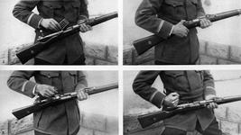 Thumbnail image of Photograph entitled , 'The arm of Germany's new infantry : The Mauser and its clip of 5 pointed cartridges,' Britain, December 23rd, 1914 page 13, part 20 from the Illustrated War News.