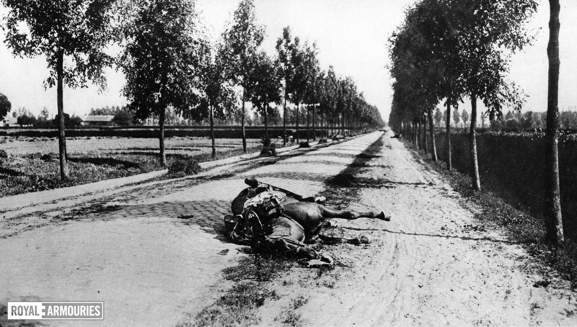 The aftermath of the Battle of Haelen, 12 August 1914 Four German cavalry regiments charged a smaller force of dismounted Belgian cavalry with rifles, artillery and partly protected by wire: it was a costly failure