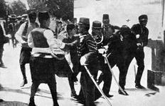 Thumbnail image of Photograph entitled , 'Arrest of Princeps, assassin of the Archduke Francis Ferdinand and the Duchess of Hohenberg,' page 3, chapter XXXVI taken from the Times History of the War Volume 2, printed and published by the Times, Printing House Square, London. 1915.