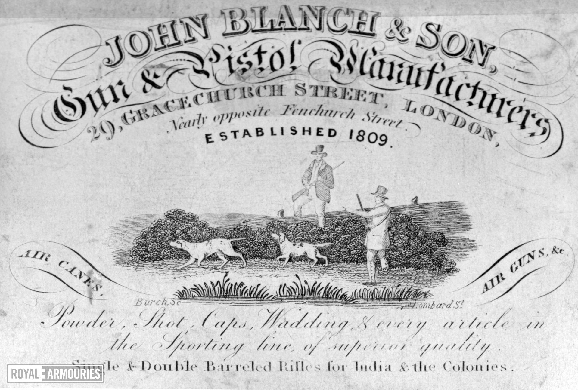 The trade label of John Blanch, the firm of gunmakers who made Chevallier's patent a reality.
