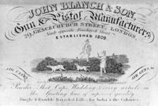 Thumbnail image of The trade label of John Blanch, the firm of gunmakers who made Chevallier's patent a reality.
