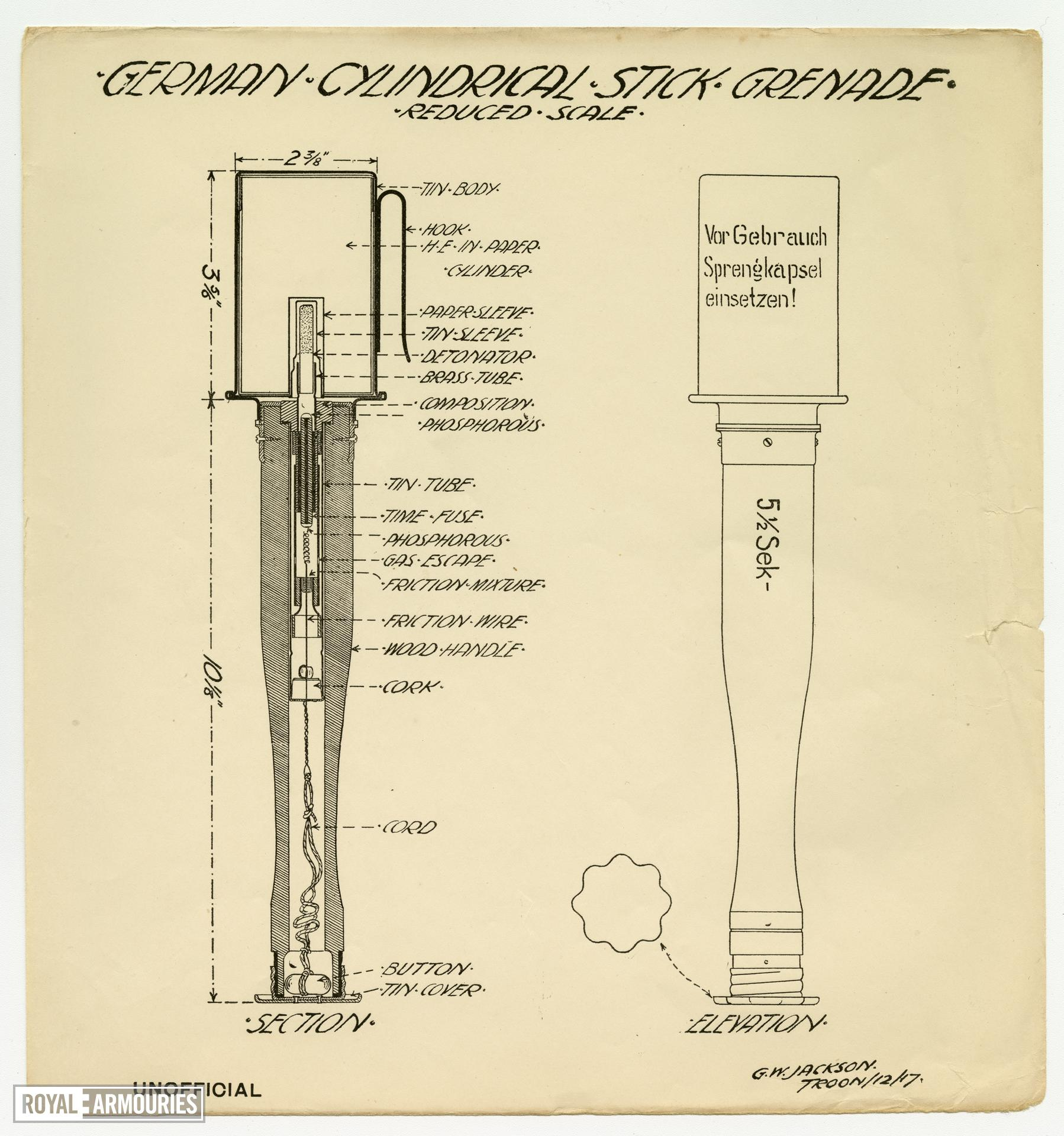 Instructional diagram showing the German cylindrical stick grenade, taken from notes on Grenades / Bombing Course, School of Arms, Hythe by R.V Shepherd, 1st Battalion, West Yorkshire Regiment, Feb 6th, 1920.