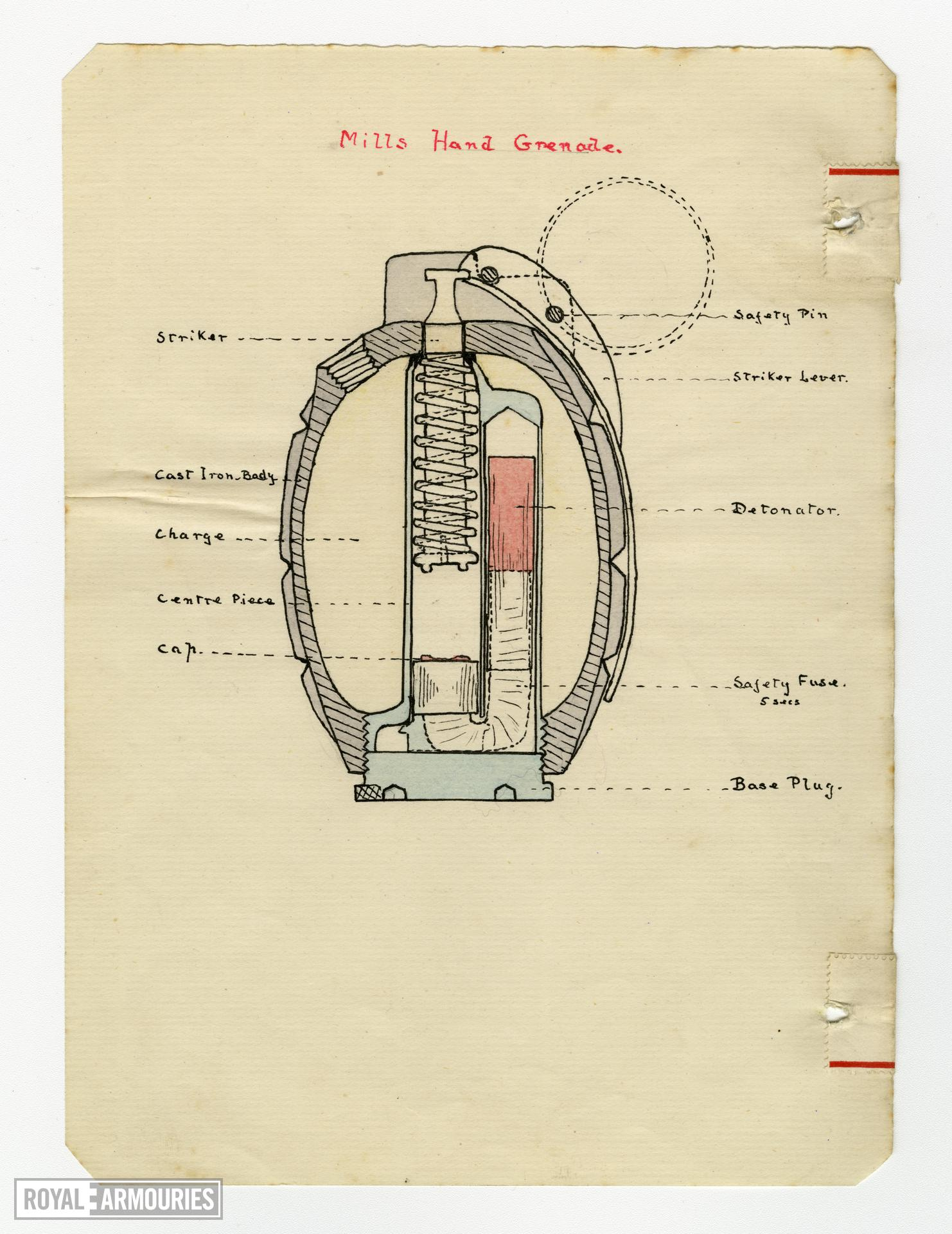 Instructional diagram showing the Mills Hand Grenade, Godstone Grenade School, Britain, 1917, taken from a loose-leaf notebook belonging to Lieutenant J.M.Y Trotter, No.2 Officer Cadet Battalion, relating to his training.