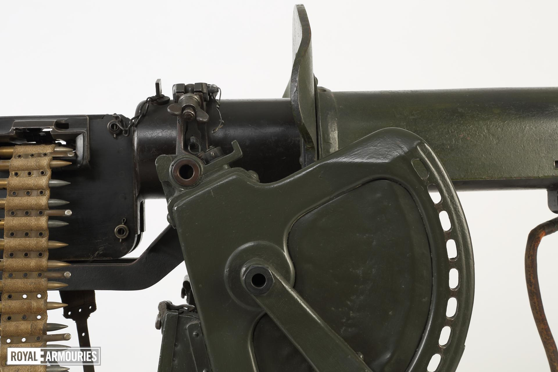 Maxim MG 08 centrefire automatic belt-fed machine gun (XII.11212) with sled type mount (PR.74), Germany, early 20th century.