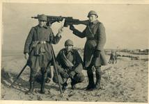 Thumbnail image of MG08/15 Anti-Aircraft - series of four photos on the beach, with numerous MG08/15 Maxim machine guns set on AA tripods. Appears to be a Belgian or French unit, World War I.
