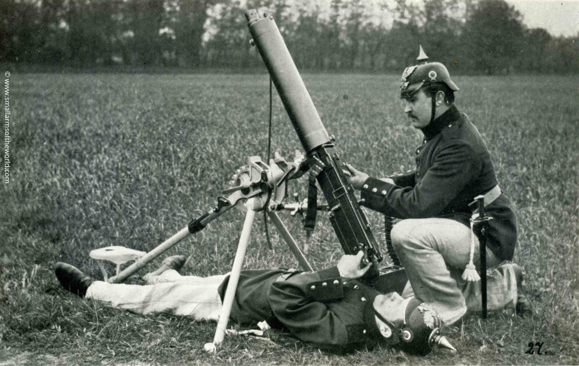 Model 1910 Bergmann Machine gun set up for AA  fire. This gun uses the same belt as the Maxim.