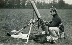 Thumbnail image of Model 1910 Bergmann Machine gun set up for AA  fire. This gun uses the same belt as the Maxim.
