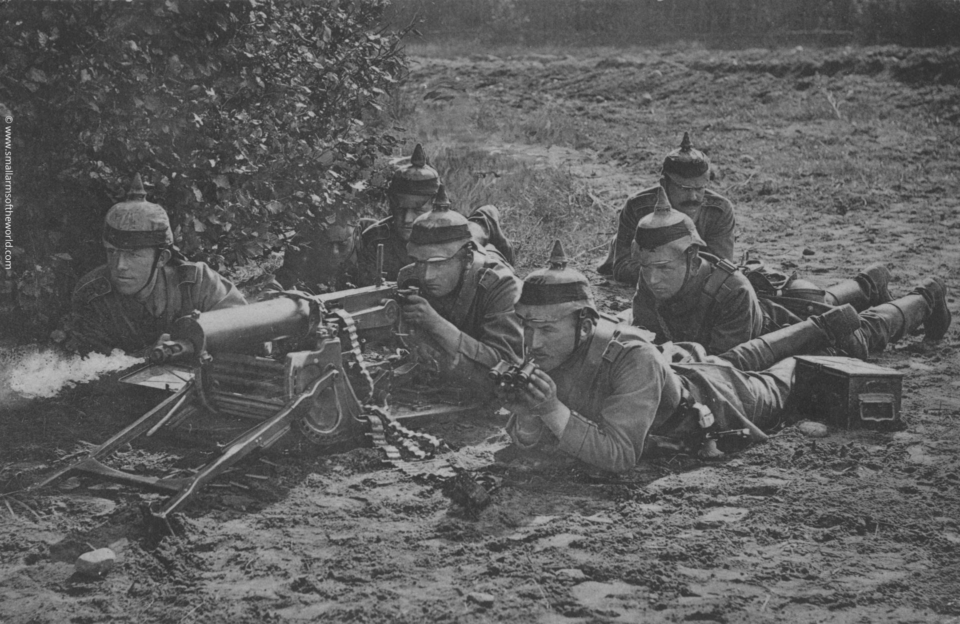 German machine gun crew with their Maxim MG08 machine gun.