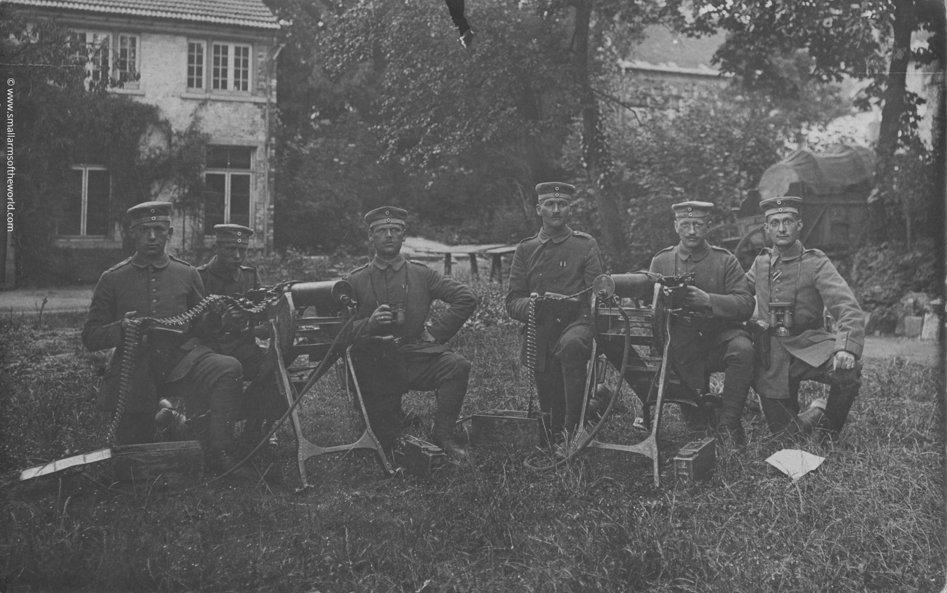 German machine gun crew with their Maxim MG08 machine guns.