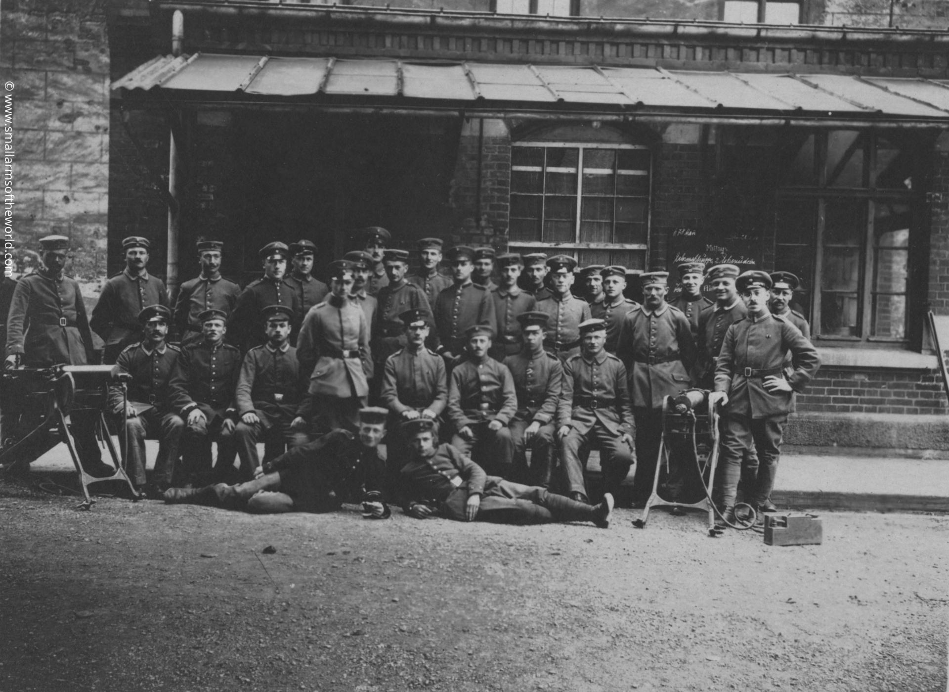 Officers and men in a machine gun company posing with their Maxim MG08 machine guns