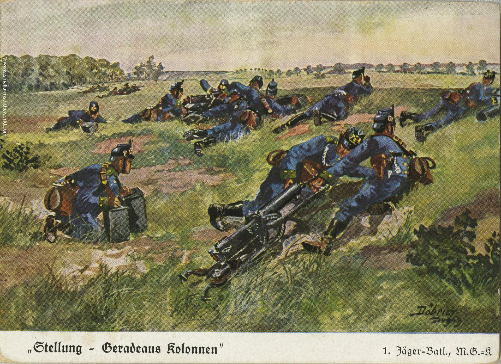 "An illustrated post card showing soldiers of the machine gun company of the 1st Jaeger Battalion. They have their guns in the lowest position so that they could drag them along while moving. Note the soldiers carrying two 500 round ammunition boxes. The wording in the lower left roughly translates ""column flankers""."