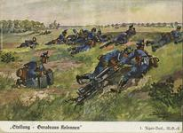 "Thumbnail image of An illustrated post card showing soldiers of the machine gun company of the 1st Jaeger Battalion. They have their guns in the lowest position so that they could drag them along while moving. Note the soldiers carrying two 500 round ammunition boxes. The wording in the lower left roughly translates ""column flankers""."