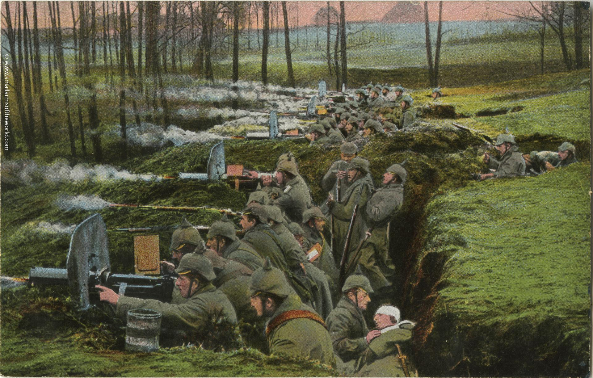 These two photos are probably the best known photos of German machine gun troops of early WWI. Taken at Misurian lakes in East Prussia. They show a six gun machine gun company dug in a trench. The coloured photo which shows the gun firing to the left was taken at more or less the same time as the other photo showing the guns firing to the right. The men in the 1st photo can be seen at the very top of the 2nd photo. Note the smoke and flame effect have been added during the colourisation process of the photo.