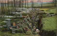 Thumbnail image of These two photos are probably the best known photos of German machine gun troops of early WWI. Taken at Misurian lakes in East Prussia. They show a six gun machine gun company dug in a trench. The coloured photo which shows the gun firing to the left was taken at more or less the same time as the other photo showing the guns firing to the right. The men in the 1st photo can be seen at the very top of the 2nd photo. Note the smoke and flame effect have been added during the colourisation process of the photo.
