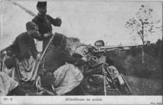 Thumbnail image of French Zouave (French soldiers from North Africa) training with a 1907/15 St.Etienne machine gun. Note the soldier carrying the bucket to catch the shells during a training exercise. Note the officer directing the fire and the unusually shaped French canteen with separate opening for filling and drinking. The rifles are berthier carbines.