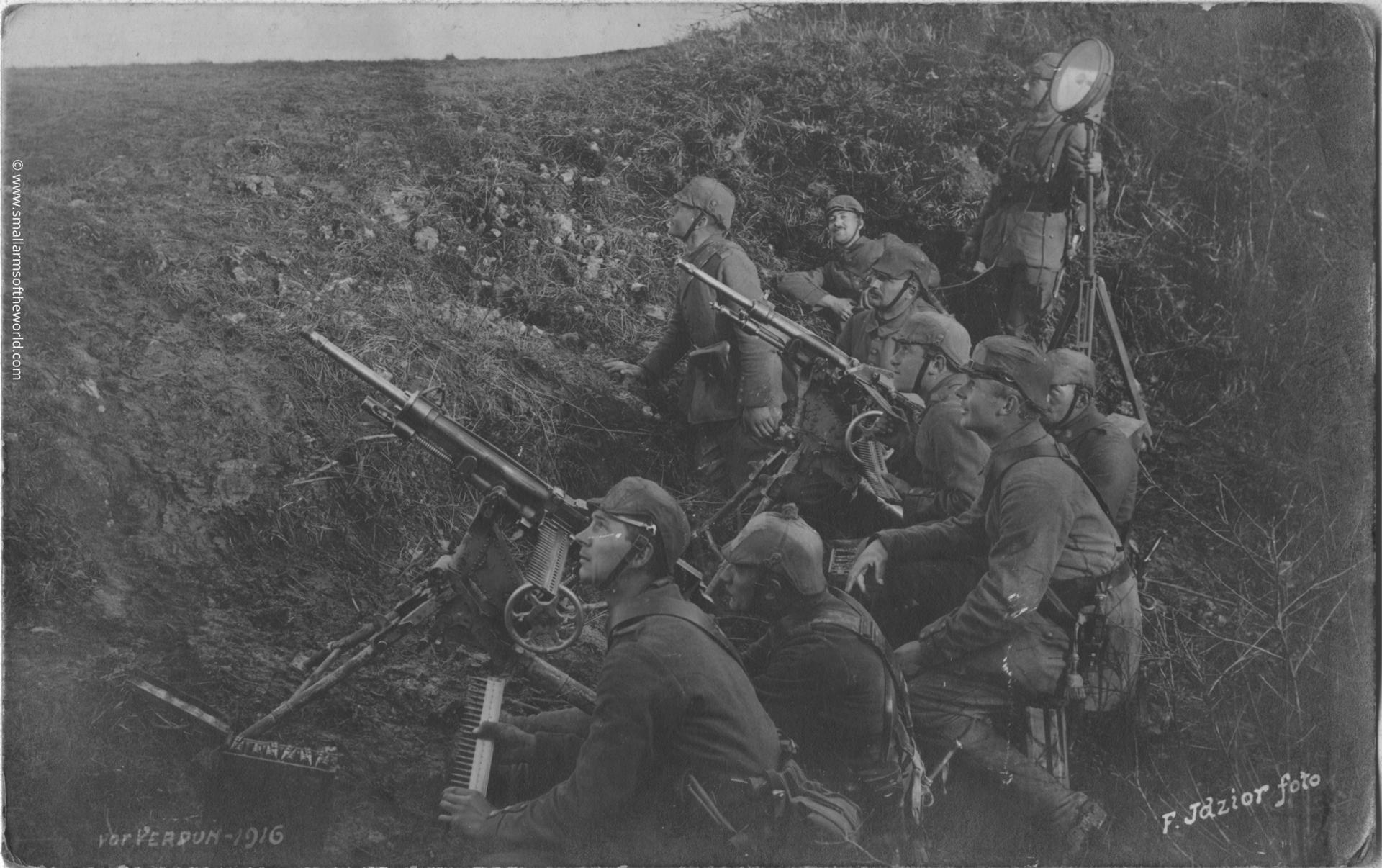 German soldiers using 1907/15 St. Etienne machine guns  for anti-aircraft fire. Note the search light. This photo was taken in Verdun in 1916.