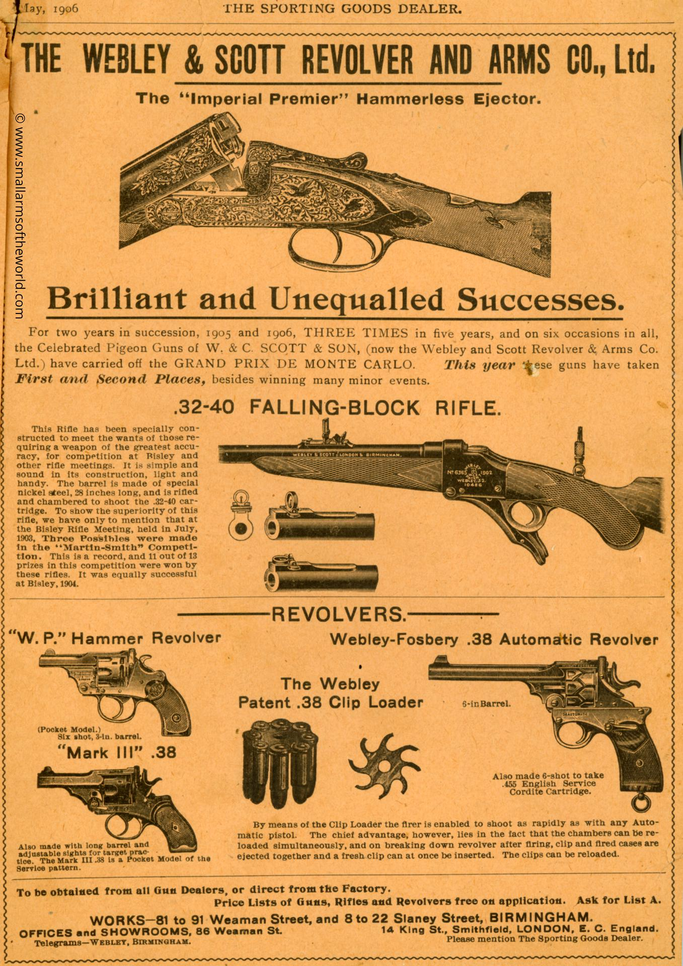 "Advertising page from ""The Sporting Goods Dealer"" advertising the Webley-Fosbery .38 automatic revolver, May, 1906."