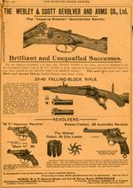 "Thumbnail image of Advertising page from ""The Sporting Goods Dealer"" advertising the Webley-Fosbery .38 automatic revolver, May, 1906."