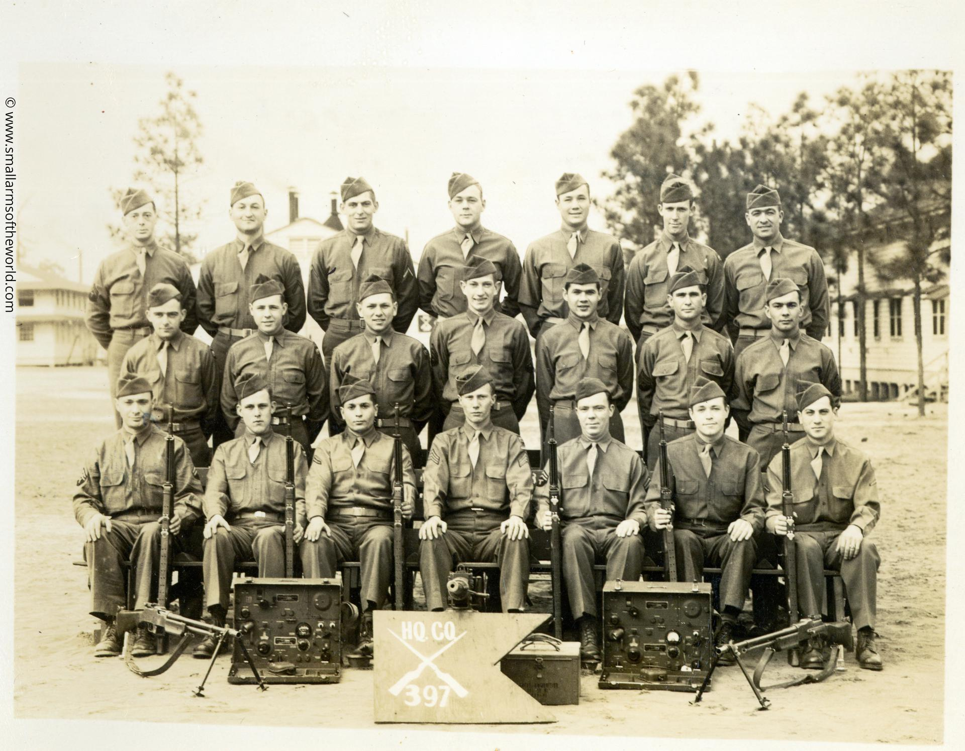 397th Infantry with Browning Automatic Rifles 1918A2. Back row, left to right: Hamond, Korman, Hook, Barlow, Dobbins, Burbank, Scarpone. Middle row, left to right: Bennett, Decker, Weingus, Pillsbury, Syc, Jones, Leckage Front row, left to right: Mufson, Corary, Booten, Watson, Ross, Thompson, Mincone