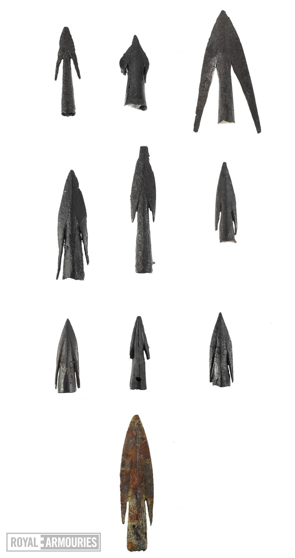 Collection of arrow heads, 11th to 15th centuries, English, from top left to bottom (XI.515, XI.516, XI.521, XI.522, XI.523, XI.526, XI.527, XI.528, XI.529, XI.296)