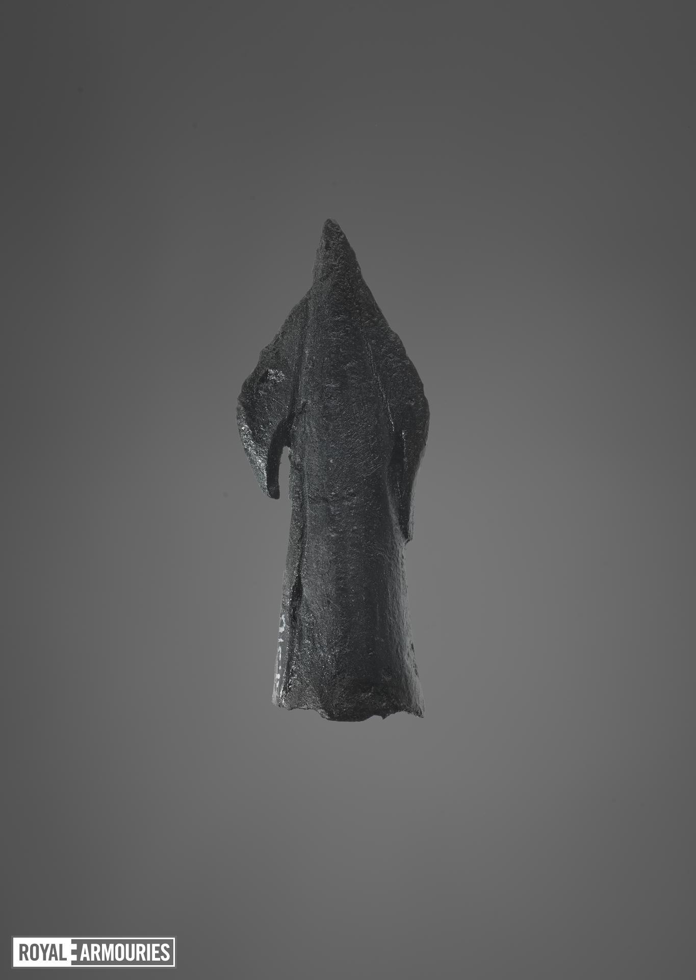 Collection of arrow heads, 11th to 15th centuries, English, from top left to bottom (XI.515, XI.516, XI.521, XI.522, XI.523, XI.526, XI.527, XI.528, XI.529, XI.296)