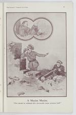 "Thumbnail image of Plate entitled ,""A Maxim Maxim. Fire should be withheld till a favourable target presents itself,"" page 15, taken from the title, The Bystander's Fragments from France, tenth edition by Captain Bruce Bairnsfather."