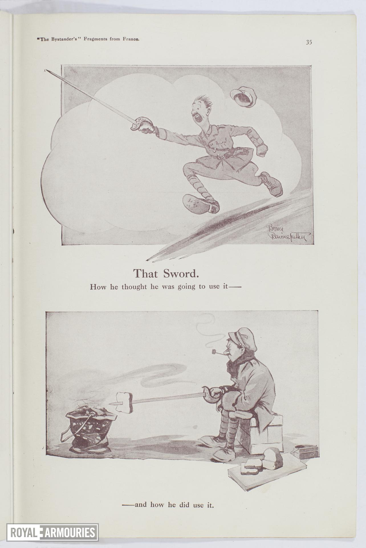 Plate entitled ,'That Sword. How he though he was going to use it and how he did use i,' page 35, taken from the title, The Bystander's Fragments from France, tenth edition by Captain Bruce Bairnsfather.