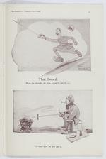 Thumbnail image of Plate entitled ,'That Sword. How he though he was going to use it and how he did use i,' page 35, taken from the title, The Bystander's Fragments from France, tenth edition by Captain Bruce Bairnsfather.
