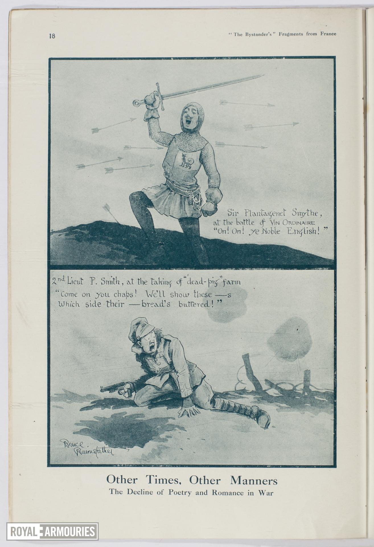 Plate entitled , 'Other Times, Other Manners. The Decline of Poetry and Romance in War,' page 18, taken from the title, The Bystander's More Fragments from France, tenth edition by Captain Bruce Bairnsfather.