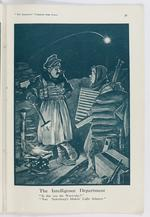 "Thumbnail image of Plate entitled , 'The Intelligence Department. ""Is this 'ere the Warlicks?"" ""Nao. 'Indenburg's blinkin' Light Infantry"",' page 29, taken from the title, The Bystander's More Fragments from France, tenth edition by Captain Bruce Bairnsfather."