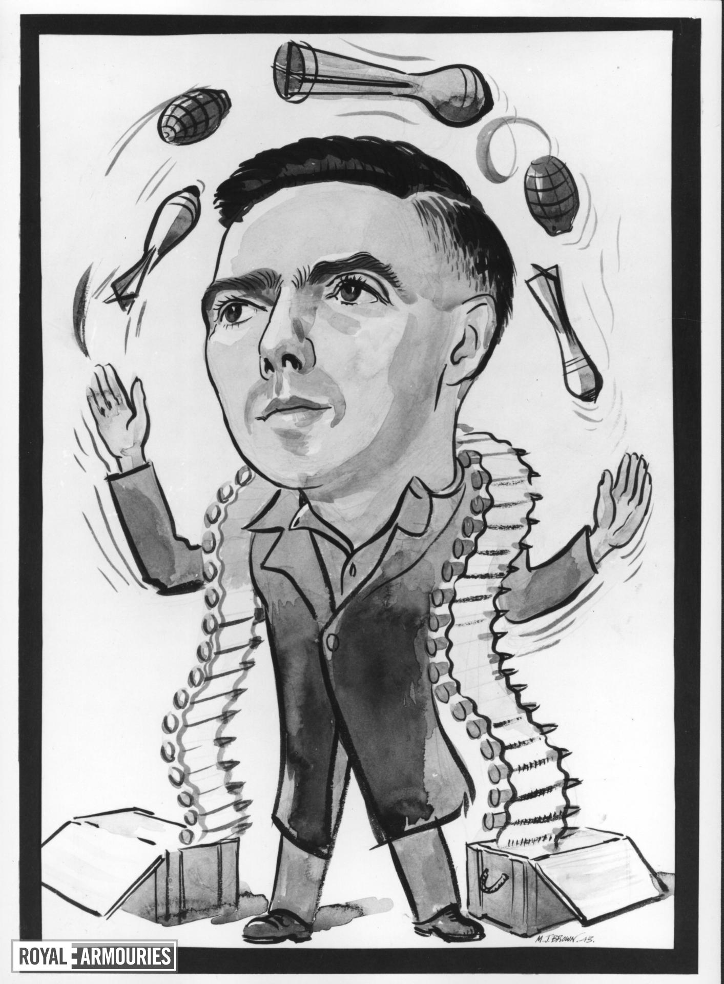 Caricature by M.J. Brown of Howard Blackmore in 1943