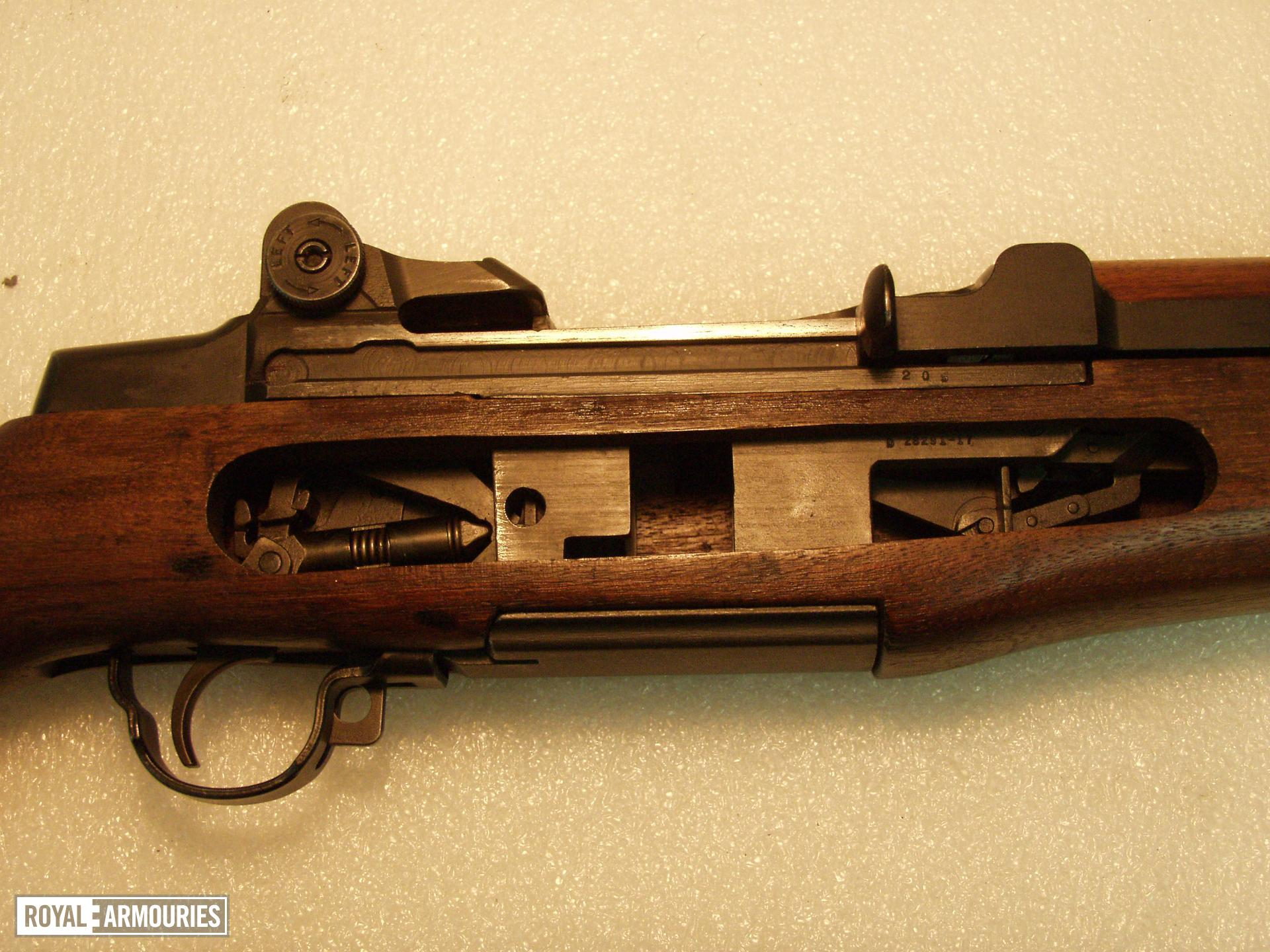 Centrefire self-loading magazine rifle - M-1 Garand Sectioned; by Springfield Armoury. Notes indicate that the weapon was sectioned in 1992 by the School of Electrical and Mechanical Engineering at Borden - no author details (this line entered by Mike Sterry, Firearms Technical Manager, NFC,  21.10.14)