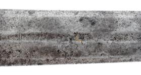 Thumbnail image of Sword, German, possibly Paassau, about 1350-1400  Iron hilt consisting of flattened oval pommel and straight quillons of square section. Grip missing. Tapering two-edged blade with a mark inlaid in brass on one face and another mark incised on each face of the tang. On the forte is an Arabic inscription translated as 'Inalienable property of the treasury of the march province of Alexandria, may it be protected', or , perhaps more accurately, 'Donation to the Arsenal in the frontier city of Alendria, the well-guarded.' (see Thomas 2011:26).  Mann 1963, p. 76: 'About 1922-1929 a number of European swords with Arabic inscriptions coming from Constantinople were offered on the London market by Mr Robinson, son  of the well-known Sir Charles Robinson (1824-1913) who had much to do with the Victoria and Albert Museum. Several of them were bought by Mr J.C. Currelly for the Royal Ontario Museum at Toronto, and it was probably from this source that the Tower sword [IX.915] was acquired by Mr Oldman.'. R. Ewart Oakeshott (1964/1981, pp. 63-65) dates this sword type (his XVIa) on the basis of archaeological and pictorial evidence to the period c.1290-1340. His dating is unchanged in his later publication ('Records of the medieval sword', Boydell Press, Woodbridge, 1991, pp. 147, 152-56). Thomas (2011:26) describes the sword as 'German', rather than Italian which it has been previously described as and the mark, as Thomas points out, does appear to be Germainc and so the present (2011) country of origin reflects.