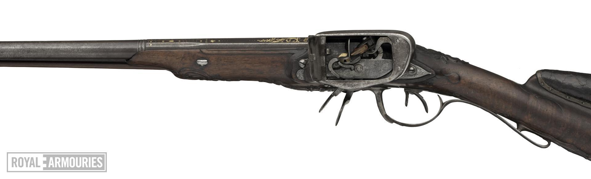 Flintlock double-barrelled gun - By Bouilliet