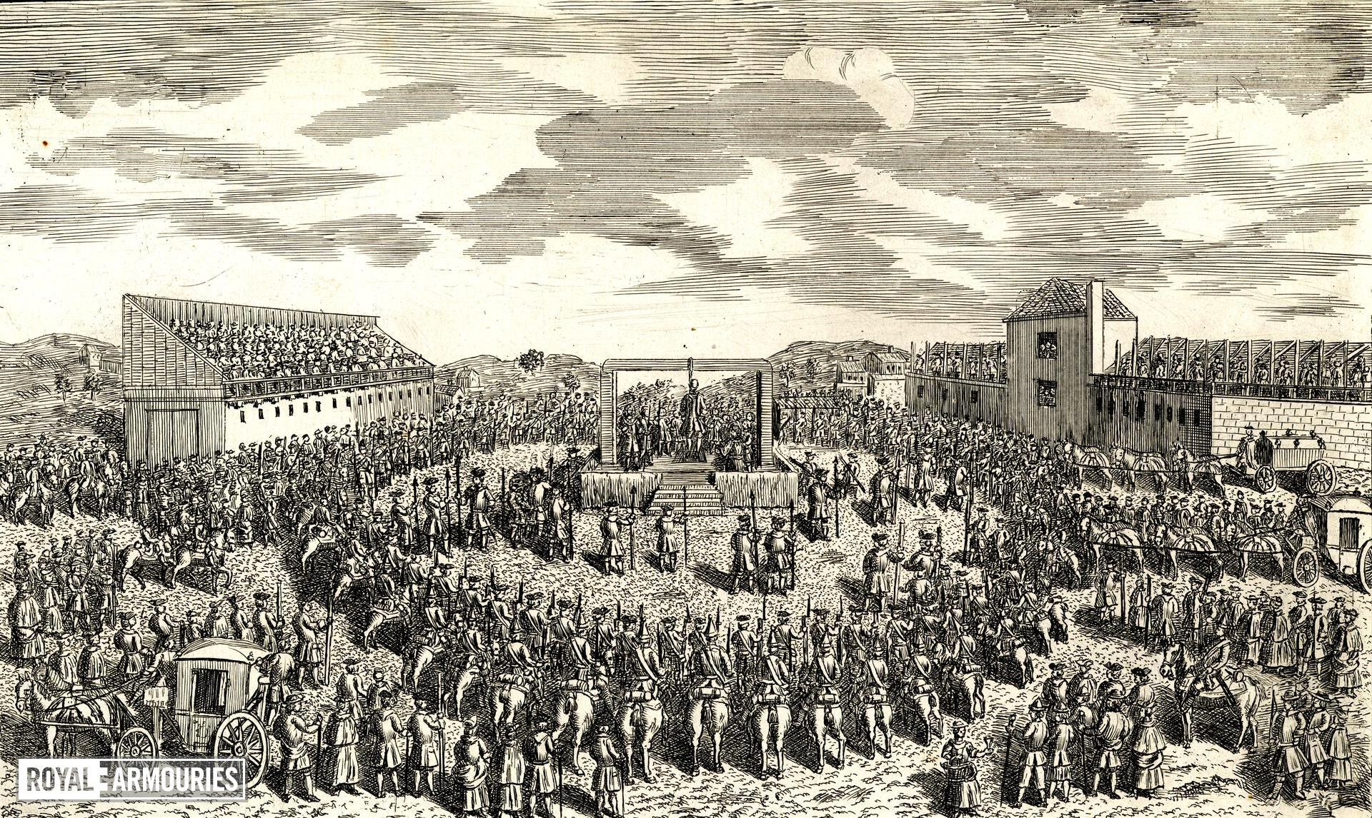 Print depicting the execution of Earl Ferrers at Tyburn, 1760.
