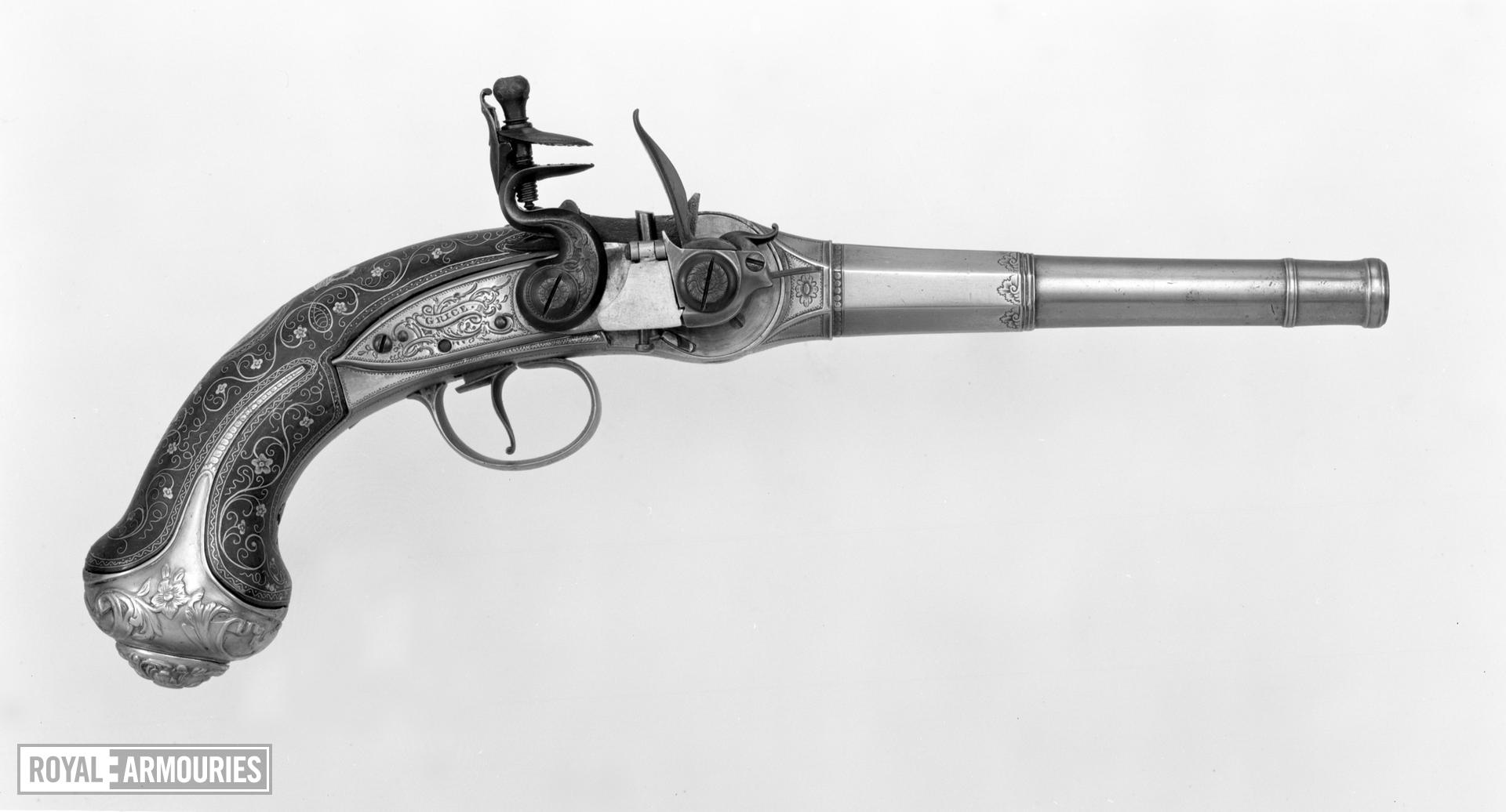 Flintlock breech-loading magazine pistol - Lorenzoni System