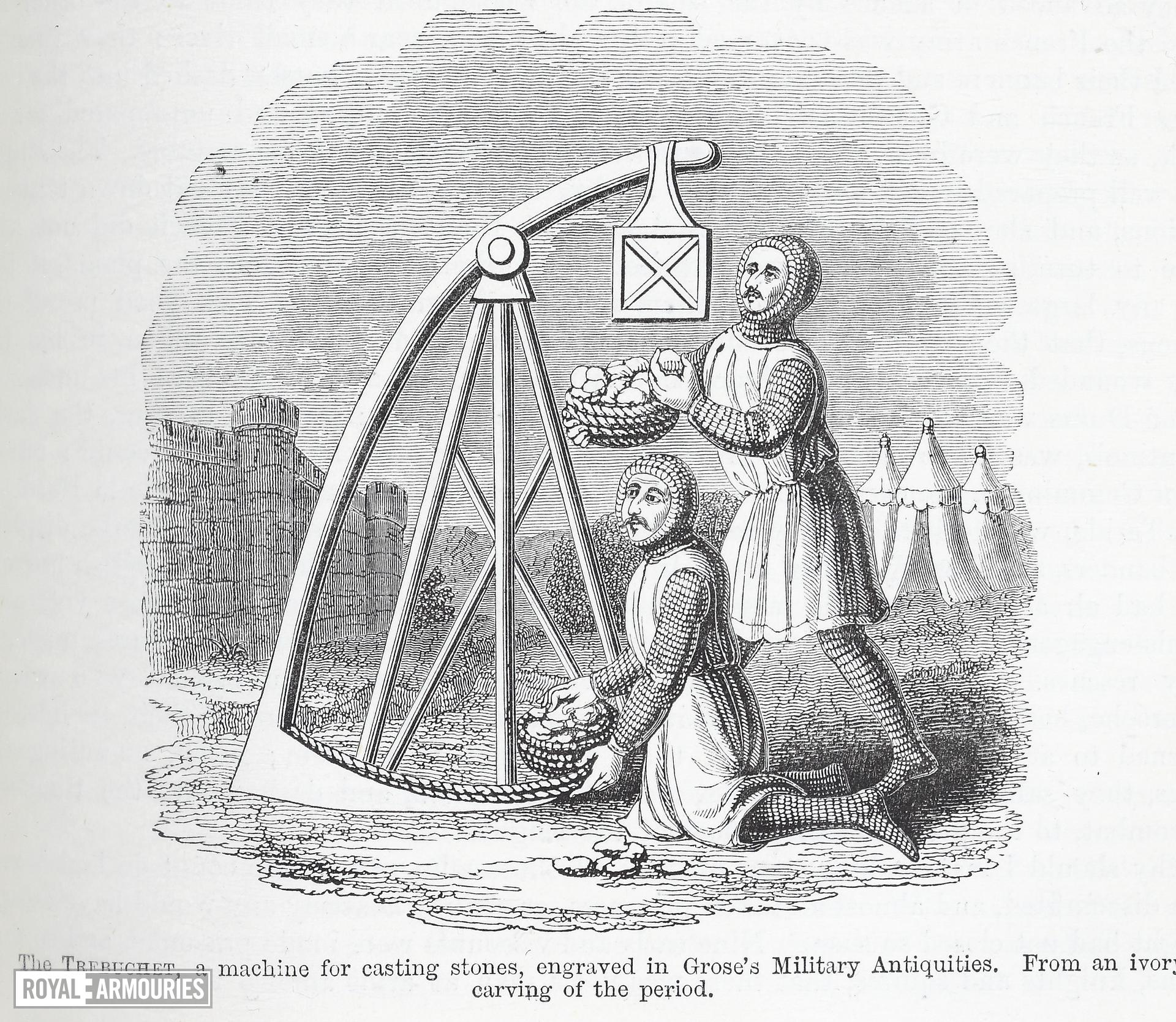 Illustration entitled,  'The Trebuchet, a machine for casting stones, engraved in Grose's Military Antiquities. From an ivory carving of the period.' page 133, taken from, ' Chronicles of England, France, Spain, and the adjoining countries, from the latter part of the reign of Edward II to the coronation of Henry IV, Volume 1,' by Sir John Froissart and Thomas Johnes, published by George Routledge & Sons, The Broadway, Ludgate, New York, 1868.