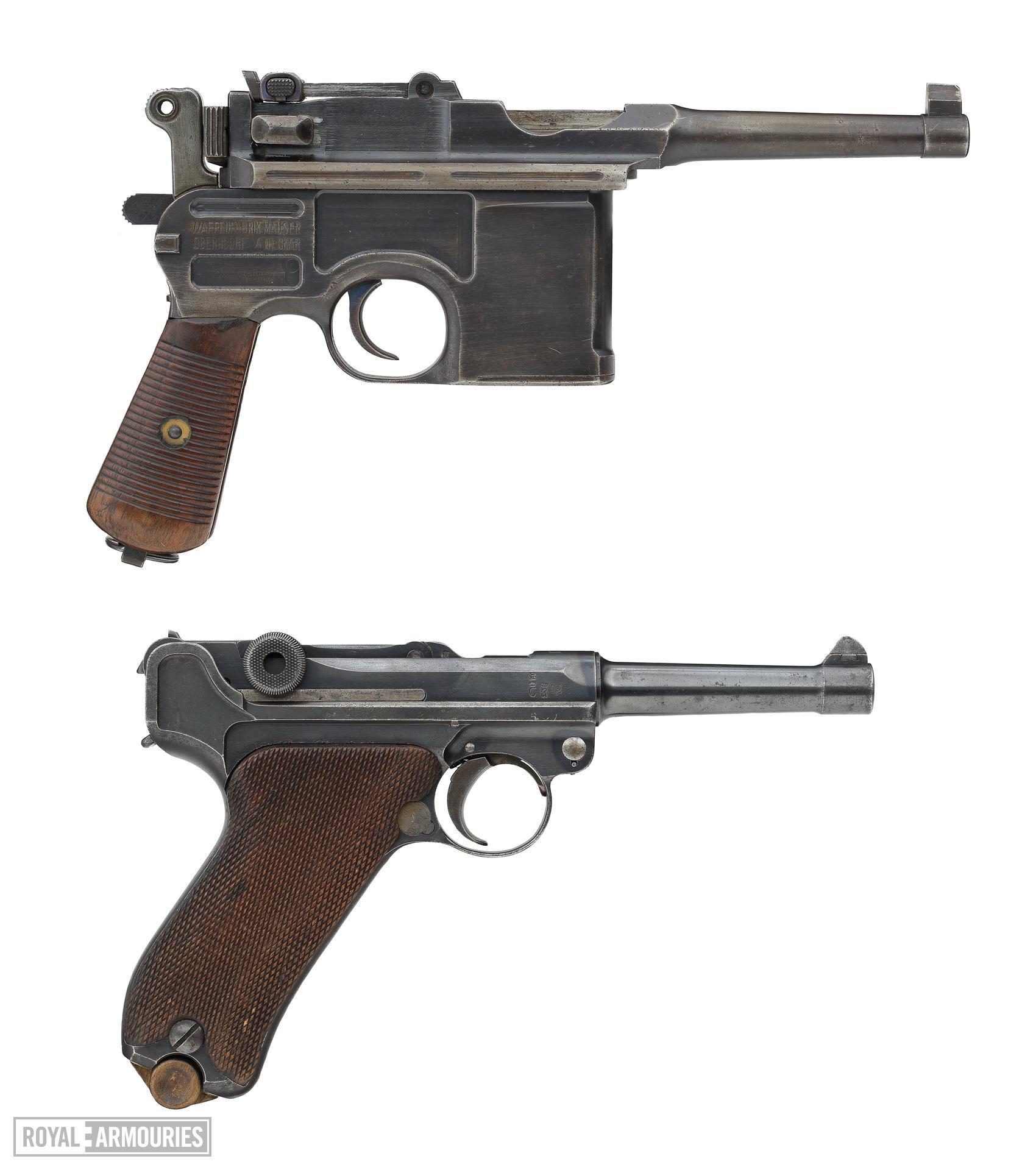 Mauser C96 Bolo centrefire self-loading pistol (top) and Luger Model P08 centrefire self loading pistol (bottom) (XII.3599 PR.4154)