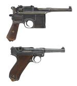 Thumbnail image of Mauser C96 Bolo centrefire self-loading pistol (top) and Luger Model P08 centrefire self loading pistol (bottom) (XII.3599 PR.4154)