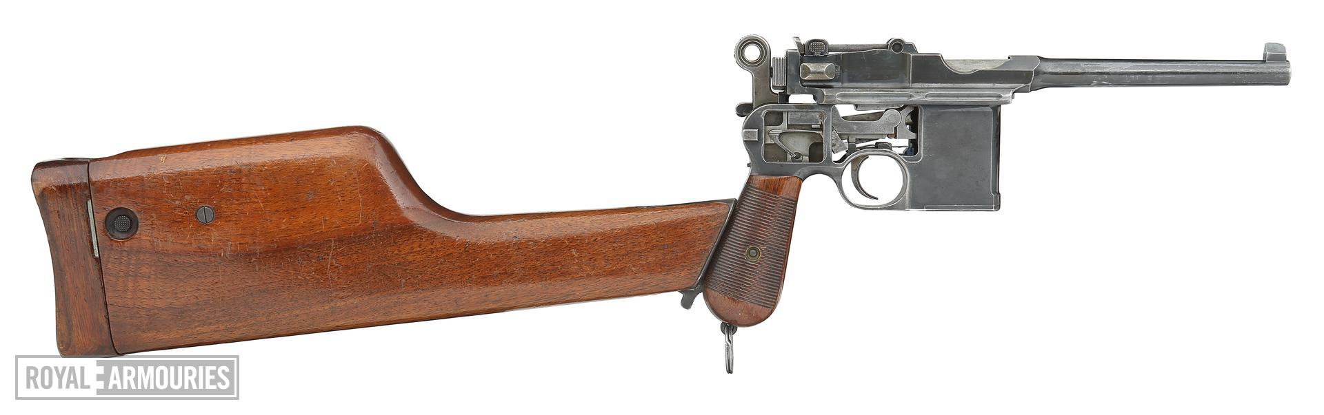 Centrefire self-loading pistol - Mauser C96 sectioned