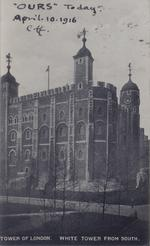 "Thumbnail image of Titled: Tower of London White Tower from south. Inscribed with ""OURS"" Today"". April. 10. 1916. C.ff. by the curator Charles ffoulkes to mark the opening of the entire White Tower to the public as the Armouries at the Tower of London."