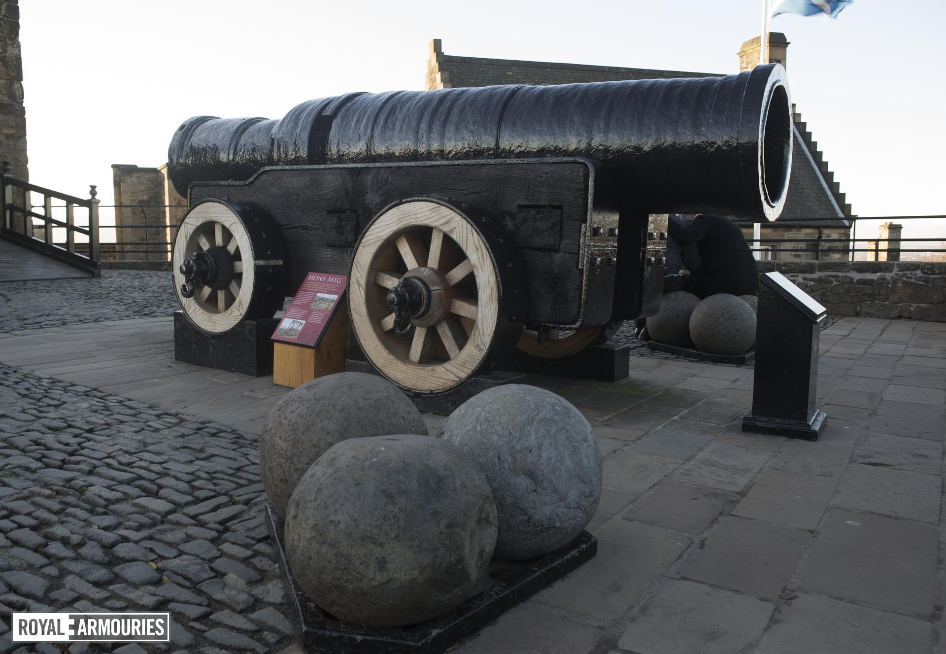 Iron bombard known as Mons Meg. Flemish, Mons, mid-15th century (XIX.13) Supplied by Jehan Cambier to Duke Philip the Good of Burgundy. On loan to Historic Scotland and on display at Edinburgh Castle.