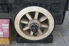 Thumbnail image of Carriage wheel of iron bombard known as Mons Meg. Flemish, Mons, mid-15th century (XIX.13) On loan to Historic Scotland and on display at Edinburgh Castle.